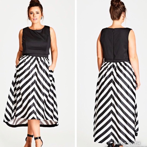 City Chic Dresses & Skirts - NWT | Satin Chevron Fit & Flare Dress